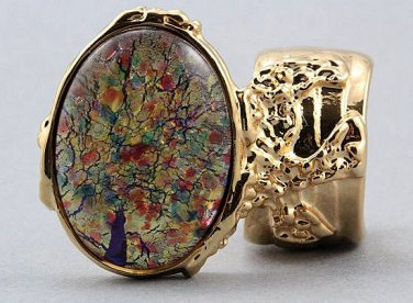 Arty Oval Ring Red Opal Vintage Glass Gold Chunky Knuckle Art Designer Statement Jewelry Size 4.5