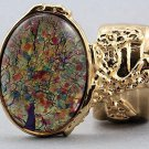 Arty Oval Ring Red Opal Vintage Glass Gold Chunky Knuckle Art Designer Statement Jewelry Size 10