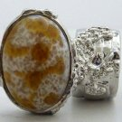 Arty Oval Ring Amber White Vintage Glass Silver Chunky Knuckle Art Statement Avant Garde Size 8.5