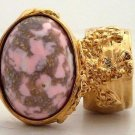 Arty Oval Ring Pink White Mottled Gold Chunky Knuckle Art Statement Jewelry Avant Garde Size 5.5