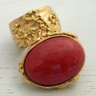 Arty Oval Ring Coral Vintage Glass Gold Chunky Knuckle Art Statement Jewelry Avant Garde Size 4.5