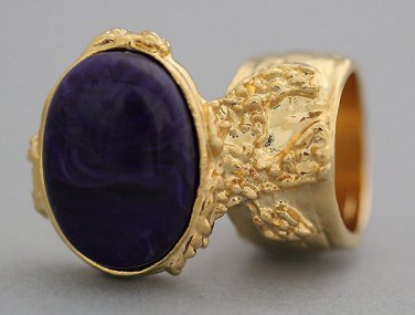 Arty Oval Ring Dark Purple Marble Vintage Gold Knuckle Art Armor Avant Garde Statement Size 5.5