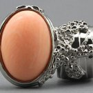 Arty Oval Ring Peach Matte Silver Vintage Knuckle Art Armor Artsy Avant Garde Statement Size 9