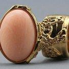 Arty Oval Ring Peach Matte Gold Vintage Knuckle Art Armor Artsy Avant Garde Statement Size 8.5
