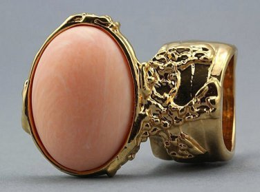 Arty Oval Ring Peach Matte Gold Vintage Knuckle Art Armor Artsy Avant Garde Statement Size 8.5