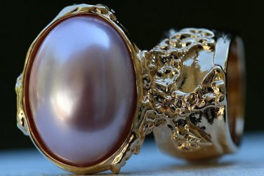 Arty Oval Ring Rose Pearl Vintage Gold Chunky Armor Knuckle Art Fashion Statement Jewelry Size 4.5