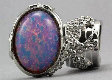 Arty Oval Ring Opal Vintage Milky Glass Silver Chunky Knuckle Art Designer Deco Jewelry Size 8