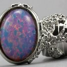 Arty Oval Ring Opal Vintage Milky Glass Silver Chunky Knuckle Art Designer Deco Jewelry Size 8.5