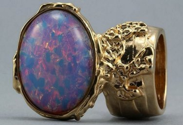 Arty Oval Ring Opal Vintage Milky Glass Gold Chunky Knuckle Art Designer Deco Jewelry Size 4.5