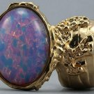Arty Oval Ring Opal Vintage Milky Glass Gold Chunky Knuckle Art Designer Deco Jewelry Size 10