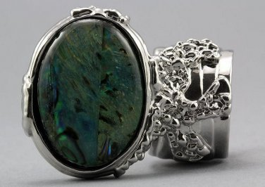 Arty Oval Ring Paua Shell Silver Chunky Armor Knuckle Art Statement Avant Garde Jewelry Size 8.5