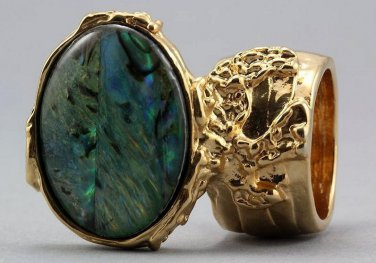 Arty Oval Ring Paua Shell Gold Chunky Armor Knuckle Art Statement Avant Garde Jewelry Size 4.5