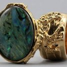 Arty Oval Ring Paua Shell Gold Chunky Armor Knuckle Art Statement Avant Garde Jewelry Size 8.5