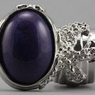Arty Oval Ring Purple Silver Chunky Designer Armor Knuckle Art Statement Deco Jewelry Size 5