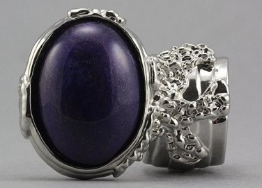 Arty Oval Ring Purple Silver Chunky Designer Armor Knuckle Art Statement Deco Jewelry Size 10