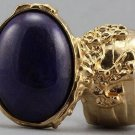 Arty Oval Ring Purple Gold Chunky Designer Armor Knuckle Art Statement Deco Jewelry Size 5.5