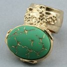 Arty Oval Ring Green Gold Abstract Vintage Glass Knuckle Art Designer Statement Jewelry Size 10