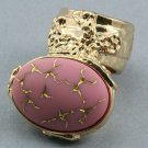 Arty Oval Ring Pink Gold Abstract Vintage Glass Knuckle Art Designer Deco Statement Jewelry Size 4.5