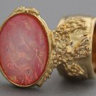 Arty Oval Ring Rose Crackle Opal Gold Chunky Armor Knuckle Art Fashion Statement Jewelry Size 5.5