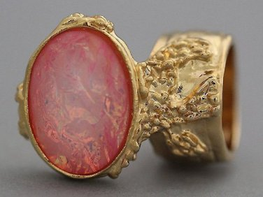 Arty Oval Ring Rose Crackle Opal Gold Chunky Armor Knuckle Art Fashion Statement Jewelry Size 8.5