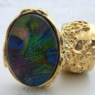 Arty Oval Ring Peacock Glass Feathers Chunky Gold Armor Knuckle Art Statement Jewelry Size 4.5