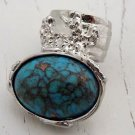 Arty Oval Ring Turquoise Designer Vintage Chunky Silver Armor Knuckle Art Statement Jewelry Size 8.5