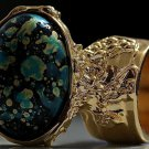 Arty Oval Ring Blue Black Metallic Chunky Gold Deco Knuckle Art Statement Abstract Jewelry Size 4.5