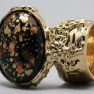 Arty Oval Ring Orange Black Metallic Chunky Gold Knuckle Art Statement Abstract Jewelry Size 4.5