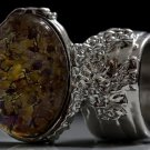 Arty Oval Ring Topaz Amethyst Vintage Glass Silver Avant Garde Chunky Knuckle Art Statement Size 8.5