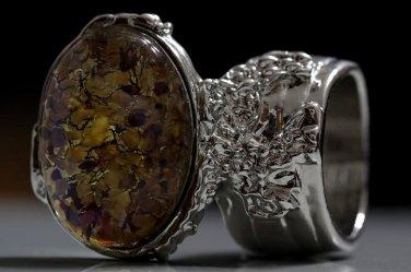 Arty Oval Ring Topaz Amethyst Vintage Glass Silver Avant Garde Chunky Knuckle Art Statement Size 8.5
