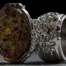 Arty Oval Ring Topaz Amethyst Vintage Glass Silver Avant Garde Chunky Knuckle Art Statement Size 10