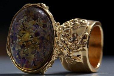 Arty Oval Ring Topaz Amethyst Vintage Glass Gold Avant Garde Chunky Knuckle Art Statement Size 6