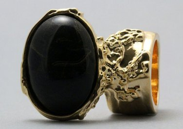 Arty Oval Ring Black Gold Vintage Chunky Knuckle Art Statement Deco Avant Garde Jewelry Size 8