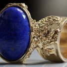 Arty Oval Ring Lapis Blue Vintage Glass Gold Chunky Knuckle Art Statement Deco Avant Garde Size 4.5