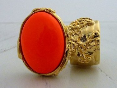Arty Oval Ring Neon Orange Gold Hand Painted Chunky Armor Knuckle Art Statement Jewelry Size 8.5