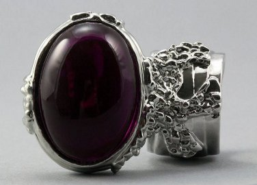 Arty Oval Ring Fuchsia Silver Chunky Armor Knuckle Art Statement Avant Garde Jewelry Size 8