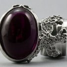 Arty Oval Ring Fuchsia Silver Chunky Armor Knuckle Art Statement Avant Garde Jewelry Size 8.5
