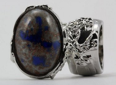 Arty Oval Ring Blue Gray Copper Sparkles Vintage Glass Silver Chunky Armor Deco Knuckle Art Size 10