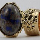 Arty Oval Ring Blue Gray Copper Sparkles Vintage Glass Gold Chunky Armor Deco Knuckle Art Size 4.5