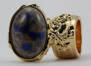 Arty Oval Ring Blue Gray Copper Sparkles Vintage Glass Gold Chunky Armor Deco Knuckle Art Size 5.5