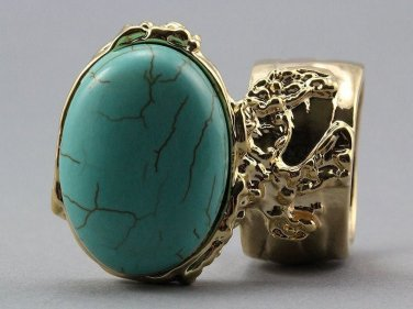 Arty Oval Ring Turquoise Gold Chunky Armor Knuckle Art Statement Avant Garde Jewelry Size 8.5