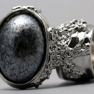 Arty Oval Ring Metallic Silver Black Chunky Armor Knuckle Art Statement Avant Garde Jewelry Size 8.5