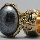 Arty Oval Ring Metallic Silver Black Gold Chunky Armor Knuckle Art Statement Avant Garde Size 4.5