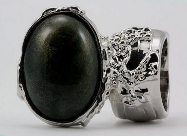 Arty Oval Ring Dark Green & Gold Shimmer Silver Chunky Knuckle Art Avant Garde Statement Size 5