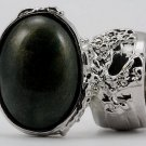 Arty Oval Ring Dark Green & Gold Shimmer Silver Chunky Knuckle Art Avant Garde Statement Size 8.5