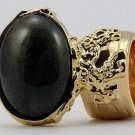 Arty Oval Ring Dark Green Shimmer Gold Chunky Knuckle Art Avant Garde Statement Size 4.5
