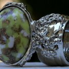Arty Oval Ring Yellow Green White Mottled Silver Chunky Knuckle Art Avant Garde Statement Size 10