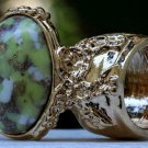 Arty Oval Ring Yellow Green White Mottled Gold Chunky Knuckle Art Avant Garde Statement Size 5.5