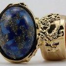 Arty Oval Ring Blue Mottled Flecks Gold Chunky Knuckle Art Avant Garde Deco Statement Size 4.5