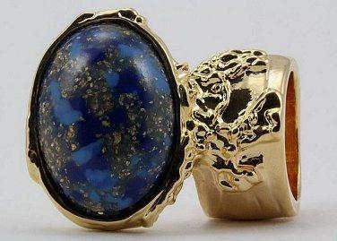 Arty Oval Ring Blue Mottled Flecks Gold Chunky Knuckle Art Avant Garde Deco Statement Size 5.5